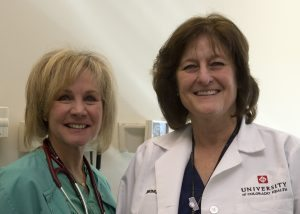Katie Conyers, NP, and Christine Woodman, RN, the driving force behind University of Colorado Hospital's new Enhanced Recovery After Surgery Program, are shown.