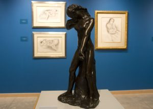 This photo shows a sculpture by August Rodin and lithographs by Henri Matisse.