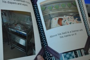 This photo shows a personalized book that Child Life specialists at UCHealth Memorial Hospital created to help siblings understand what happens in a NICU.
