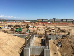 A view of a Construction site at the new UCHealth Highlands Ranch Hospital.