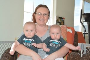 Heidi Clanton holds her twins, Gabriel and Lucas.