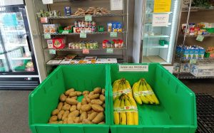 bananas and potatoes in a bin with other food on shelves at a food pantry in Fort Collins