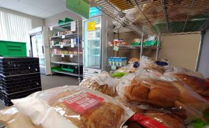 bread and other food on shelves