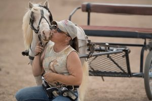 Sara Millard with her blind horse, Tazz.
