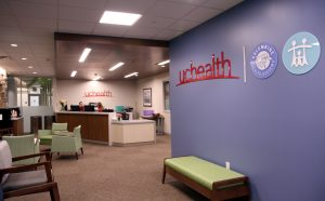 UCHealth and Associates of Family Medicine share reception space for the community services they provide at the new Health and Medical Center at CSU, on the corner of Prospect Road and College Avenue in Fort Collins. A reception area is shown in this photo.