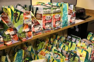 This is a photo of gift bags Girl Scout Troop 2109 in Colorado Springs created for breast cancer survivors.