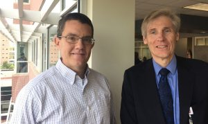 Leland Fay is pictured with Dr. Robert Breeze, who used highly targeted radiation to treat 98 tumors in Fay's brain.