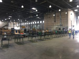 A view of a Texas hangar where emergency workers have gathered to help afte rHurricane Harvey.