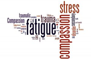 A word illustration showing the kinds of difficulties medical providers can face including stress, fatigue and trauma.