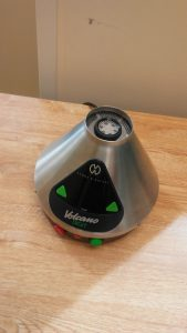 The pod attaches to this device, which vaporizes the cannabis, which study participants consume in a room with a specially installed exhaust system.