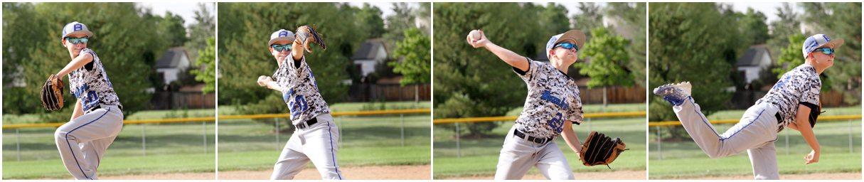 Brayden Tate playing baseball after a broken thumb.