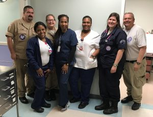 Erin Lennon, second from right, with other medical workers in St. Croix.