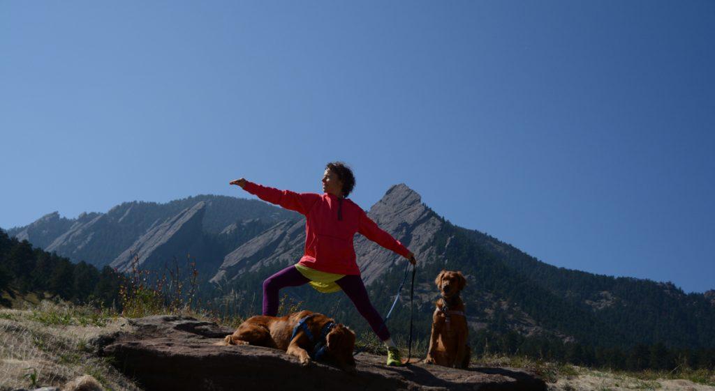Ellie Bluestein illustrates her warrior pose at Chautauqua Park near her home in Boulder.