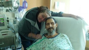Shaun Ott, with wife Janet, on Oct. 17 in his room in the CTICU at UCHealth University of Colorado Hospital.