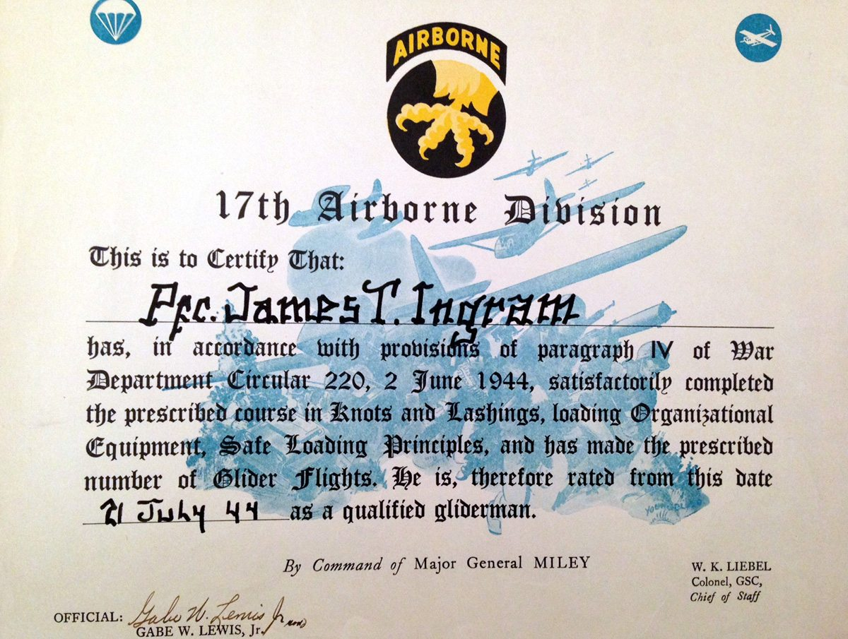 Pfc. Jim Ingram's commission paper for the 17th Airborne Divsion as a glideman.