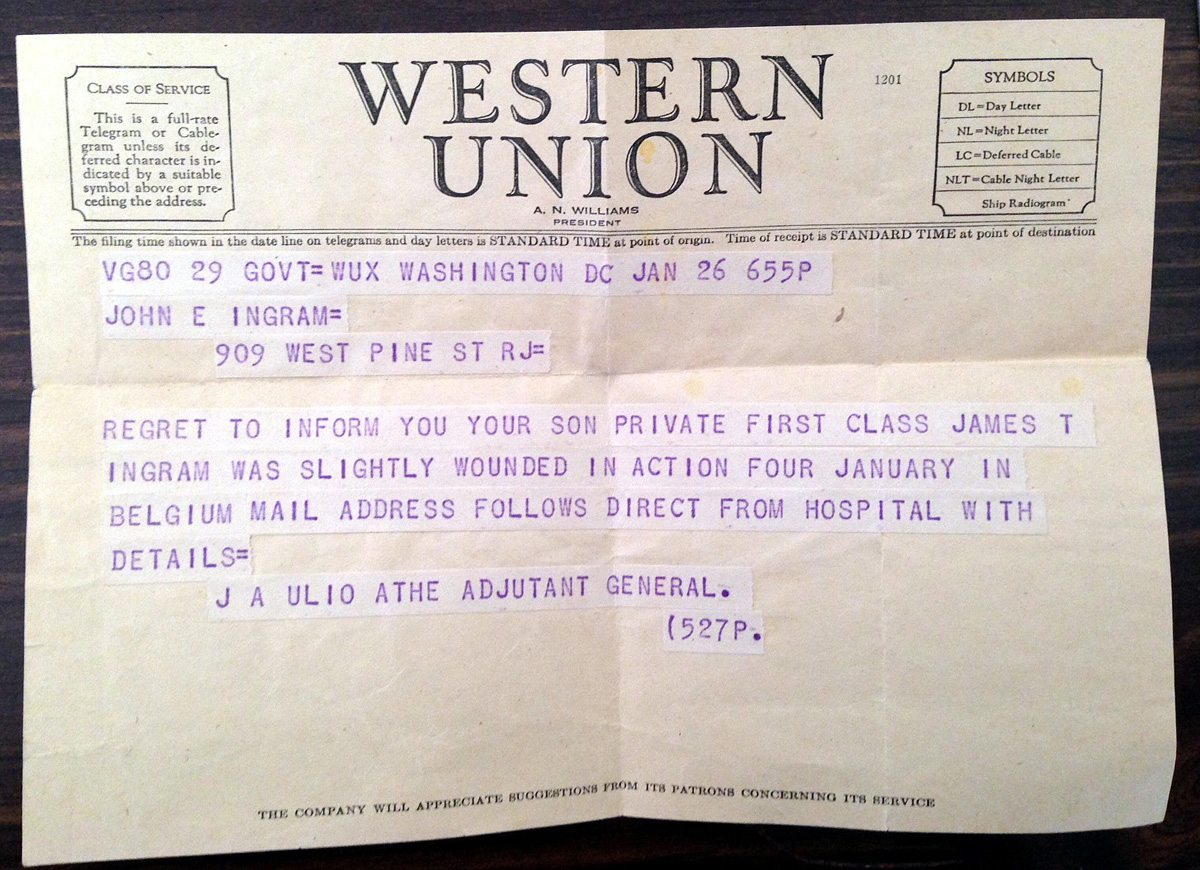 This telegraph was sent to Pfc. Jim Ingram's parents  after Ingram, 19, was injured during the Battle of the Bulge in December 1944 during WWII.