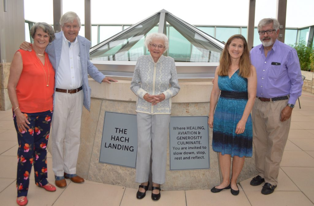 Muriel Hach, Bruce Hach, Kathryn (Kitty) Hach, Amy Hach and Paul Hach, gather at a recent special celebration at The Hach Landing outdoor deck on the fifth floor at UCHealth Medical Center of the Rockies in Loveland.