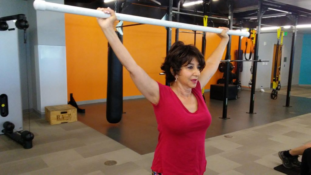 Andrea Meyers is shown exercising in this photo.