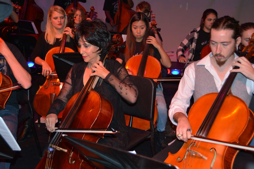 Andrea Meyer plays the cello in this photo.