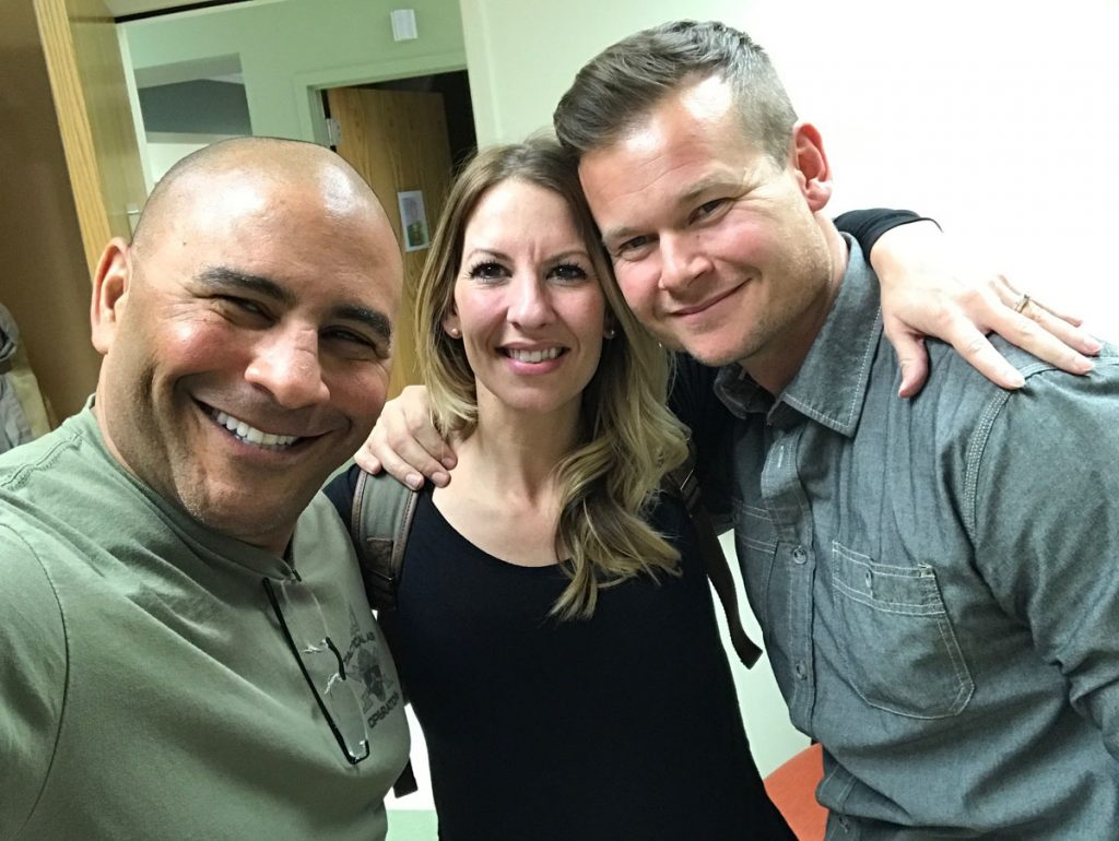 Jeff Bramstedt with Melinda and James Ray soon after they met for the first time.
