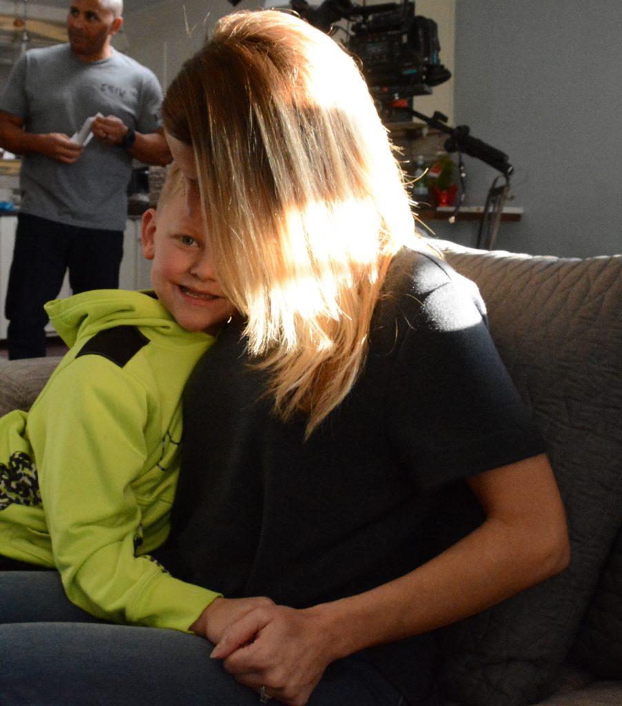 Liver transplant recipient Melinda Ray with her son Kieran.