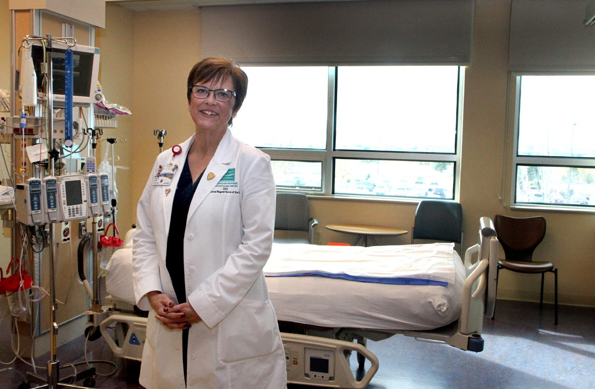 Melanie Roberts is shown in a hospital room. Roberts was awarded 2017 National Magnet Nurse of the Year in empirical outcomes by the American Nurses Credentialing Center for her work in cardiac arrest in heart surgery patients.