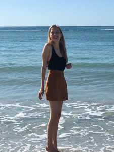 Peyton poses on the beach. The teen cancer survivor has moved to Los Angeles.