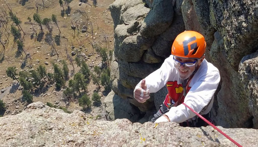 Robert Kelman, 87, reaches the top of Devils Tower.