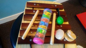 A photo of percussion instruments.