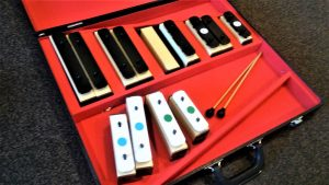 A photo of musical instruments used in a music therapy program.