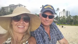 Evelyn and Don Schwandt pose for a photo on the beach in Hawaii. Don used to be stationed there and they love being on the beach.