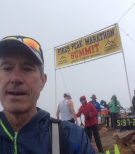 A selfie of David Brenner at the summit of the Pikes Peak Marathon, during which time he was battling coronary artery disease.