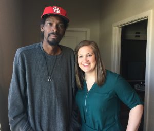 Julian Jones poses with his trusted social worker, Autumn Kuehl. Kuehl helped Jones go from being homeless to having an apartment and a regular place to get medical help too.