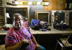 Greg West poses in the dressing room before perfomring in his newest play.Photo by Cyrus McCrimmon for UCHealth.