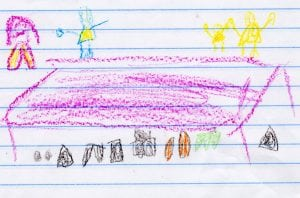 Fiona's drawing of her and her sister playing dolls.