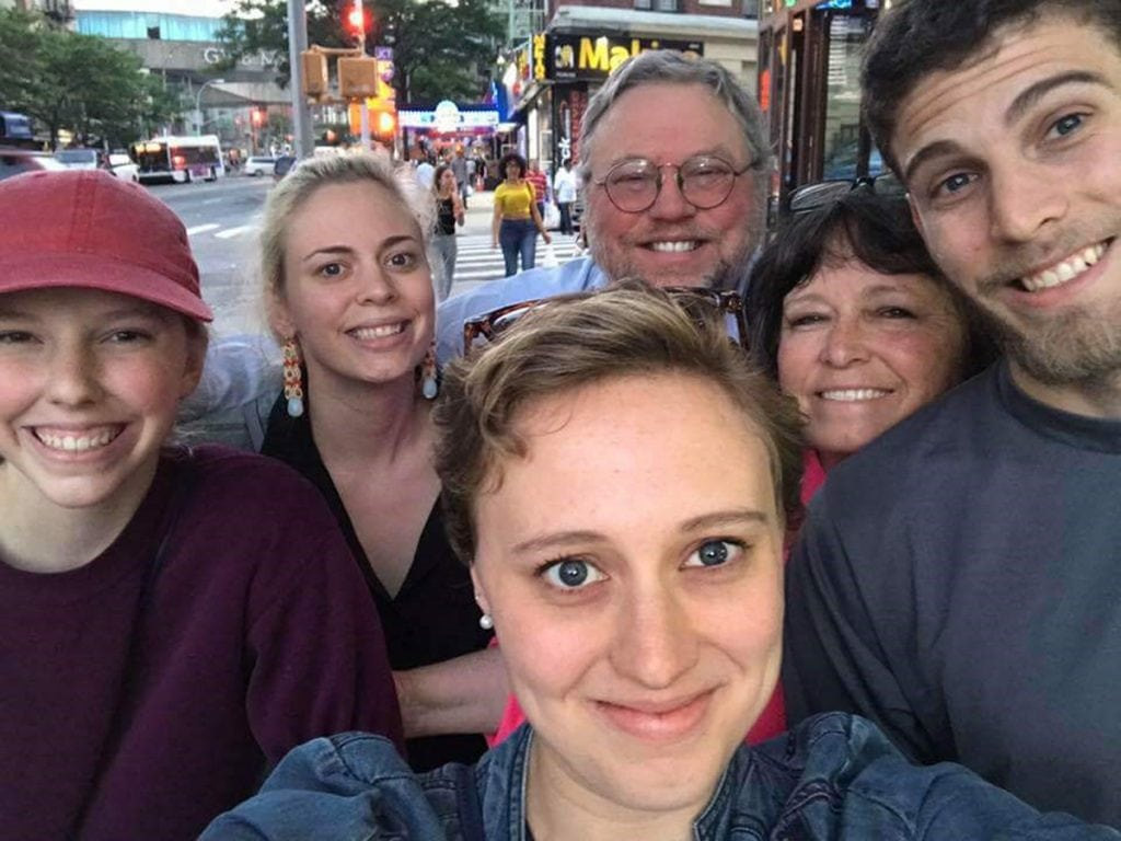 The Zirkle family gathers in New York City, where Rachel, center, will get married today. From left to right, Caroline, 18, Laura, 27,Rachel, 29, Doug and Lisa, and Chris, 25. Photo courtesy of the Zirkle family.