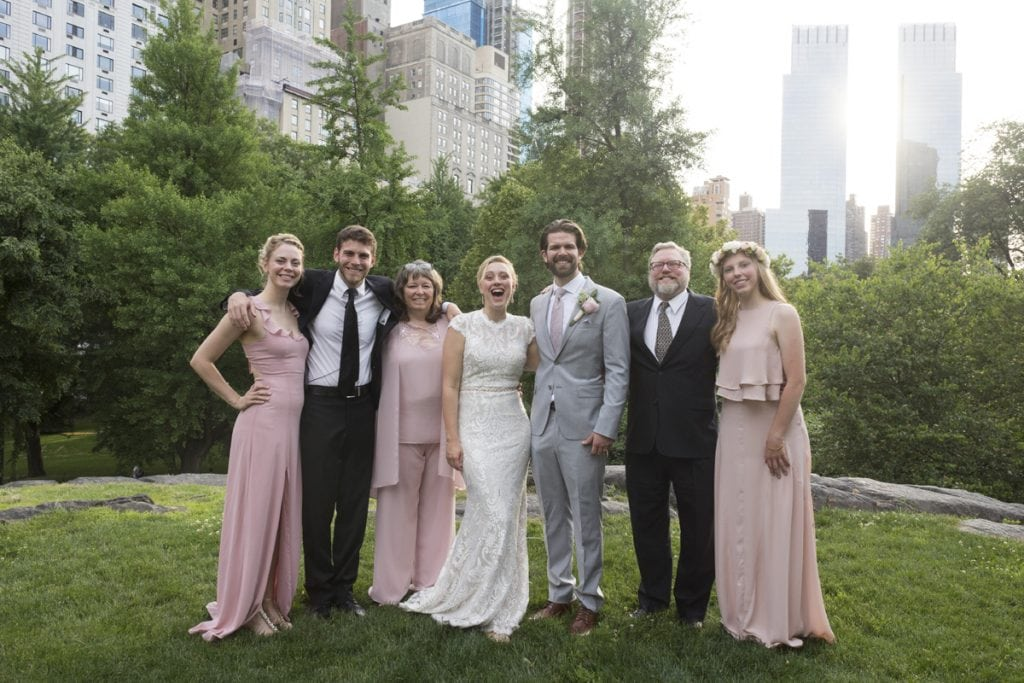 The Zirkle family poses after Rachel and Taylor's wedding. From left to right, Laura, Chris, Lisa, Rachel and Taylor Miller, Doug and Caroline. Photo by Elaine Cromie for UCHealth.