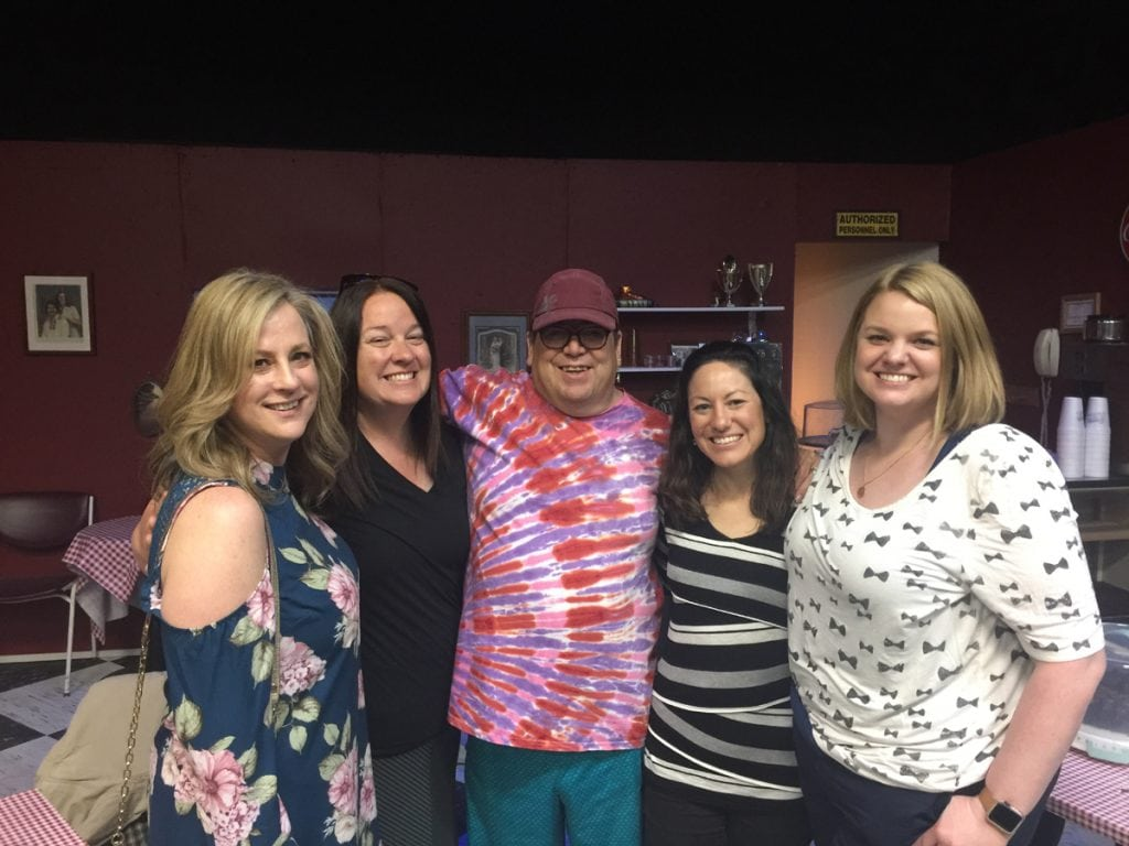 Greg West poses with providers from his UCHealth LVAD team. From left to right, Jami Bennett, Kristi Forsmark,Greg West, Maria Marsala and Jessica Byrd.