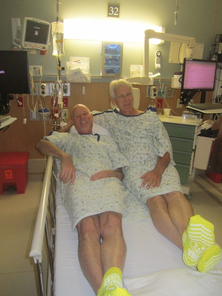 Scott La Point and Jim Eastman pose together in the hospital before their kidney transplant. Photo courtesy of Scott La Point.
