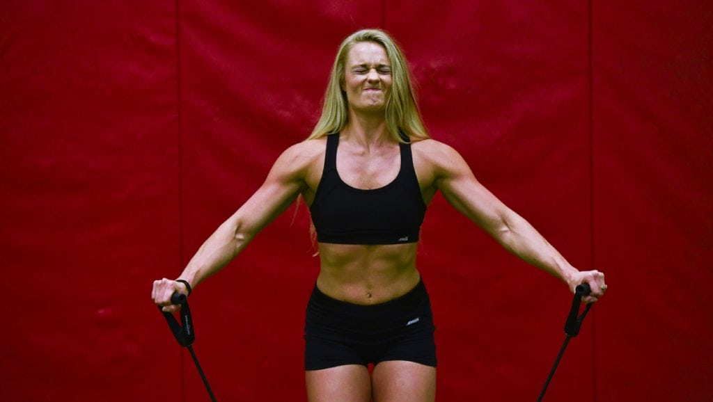 Cassandra Witt works out in a gym