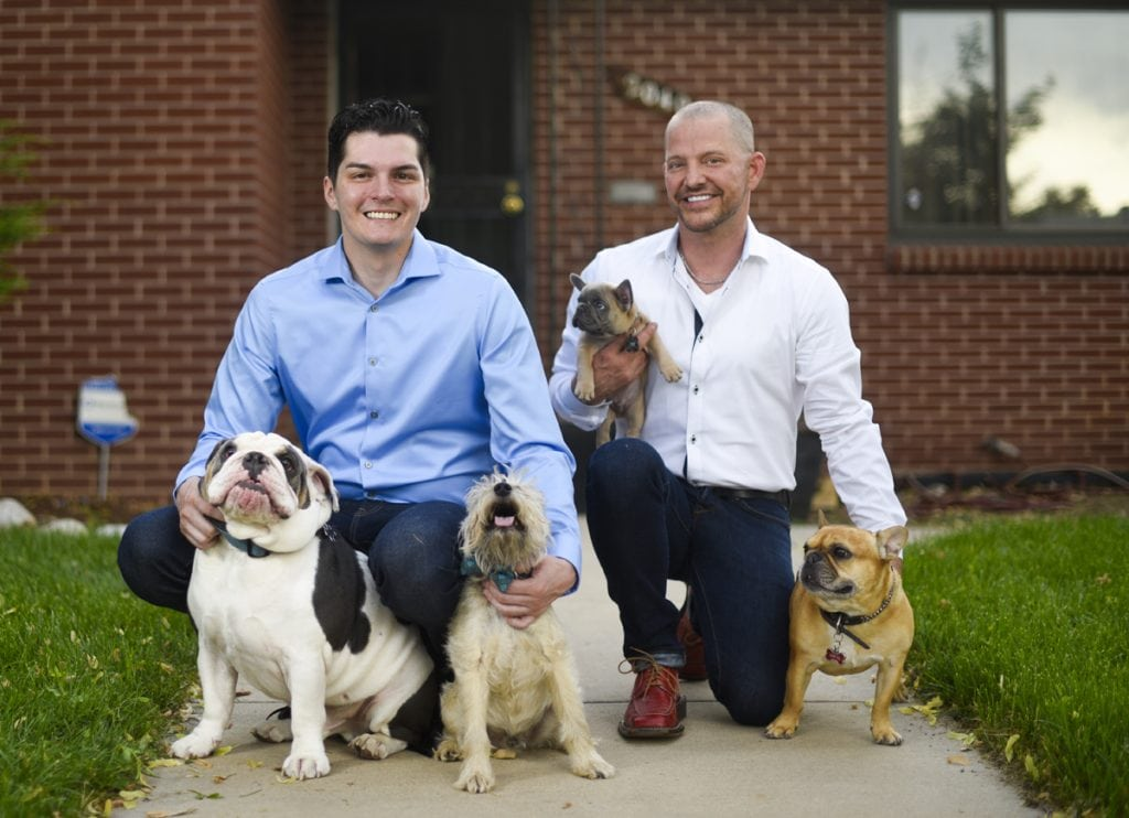 After nearly dying from colon cancer, Stepphen Estrada has been enjoying happy milestones in life. He and his longtime partner Kenley Erskine, have four dogs and recently bought a home together. After years of postponing a wedding while fighting cancer they were married on Aug. 1. Photo by Cyrus McCrimmon for UCHealth Today.