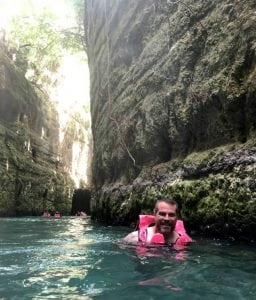James Morales swimming in a cave in Mexico.