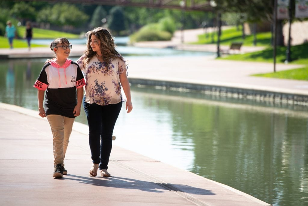 Angela Lucero and her daughter Larai at the Historic Arkansas River Project.