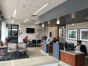 A photo of reception area at UCHealth's Sterling Ranch Medical Center.