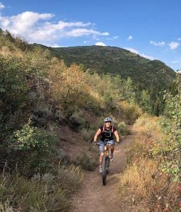 Crystal Henderson mountain biking near Steamboat Springs.