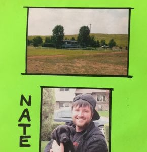 A picture of a green card with photos of Nathan Kissack, his dog and his ranch. His grandmother made cards like this to keep Nathan's spirtis up during his hospital stay.