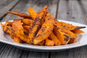 A plate of savory oven-baked pumpkin fries.