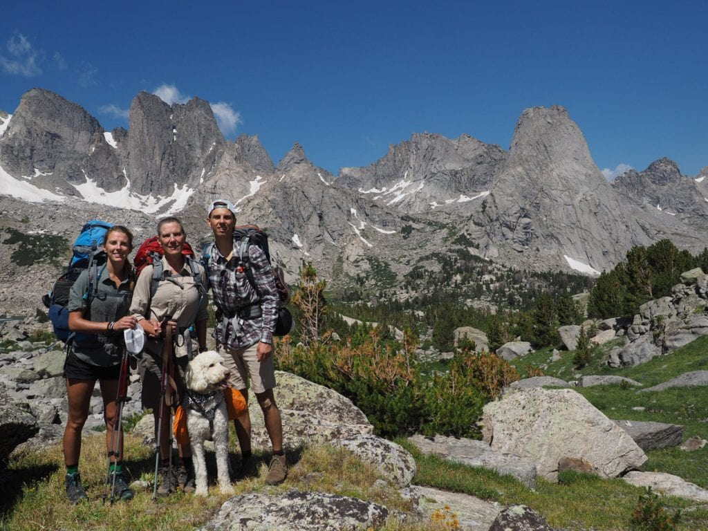 A family backbacking in the Wind River Wilderness