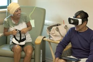 patient and husband using virtual reality in health care