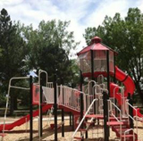 A red playground in Arvada is dedicated to volunteer firefighters.
